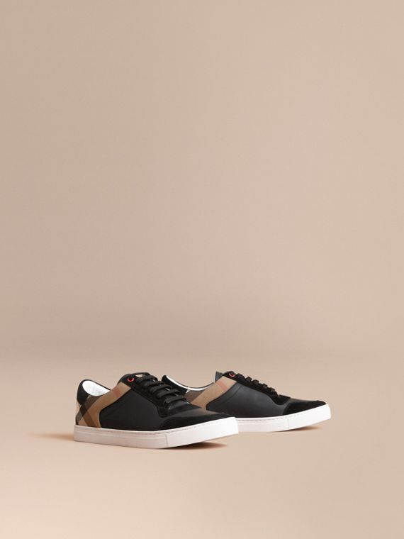Leather and House Check Trainers in Black