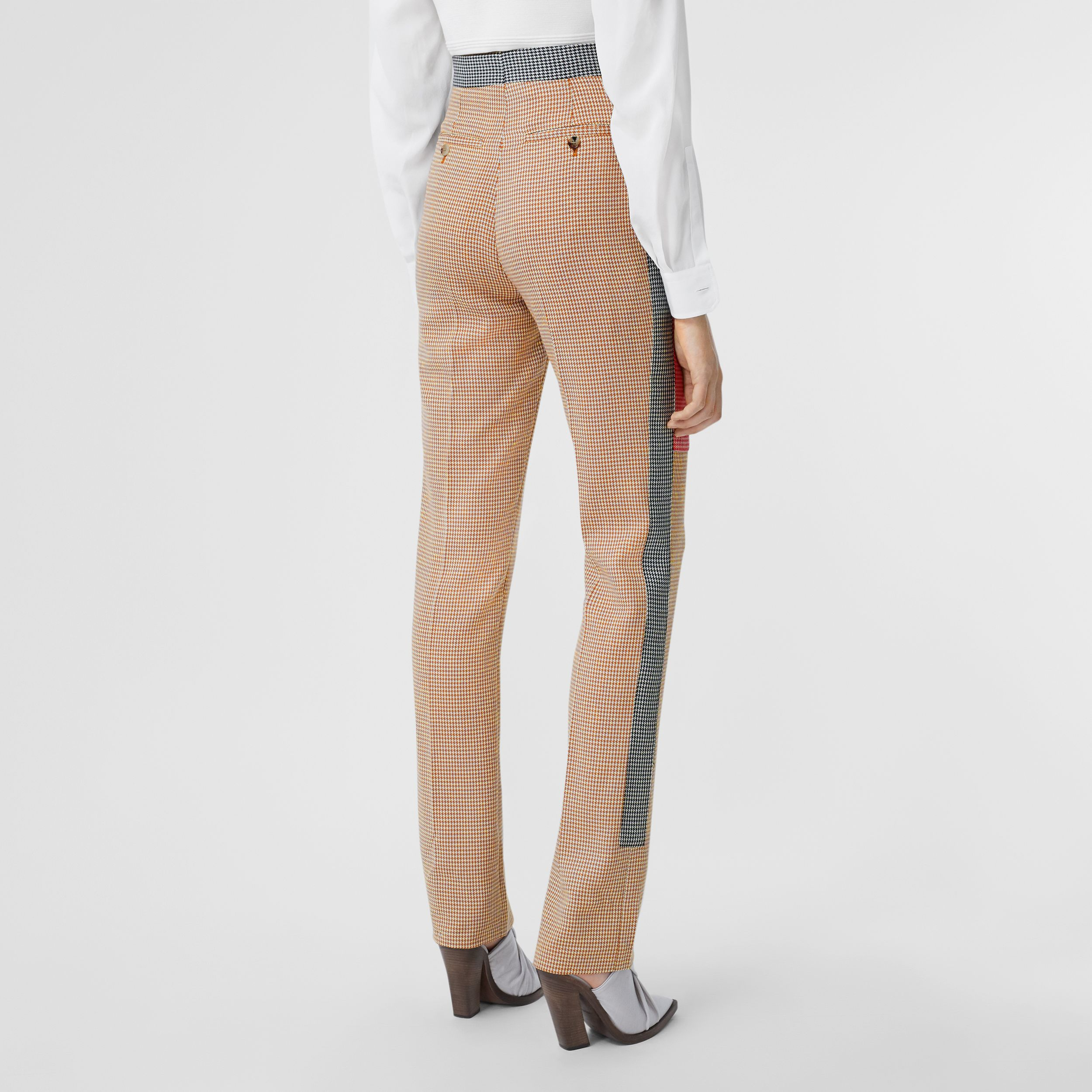 Houndstooth Check Wool Tailored Trousers in Bronze - Women | Burberry - 3