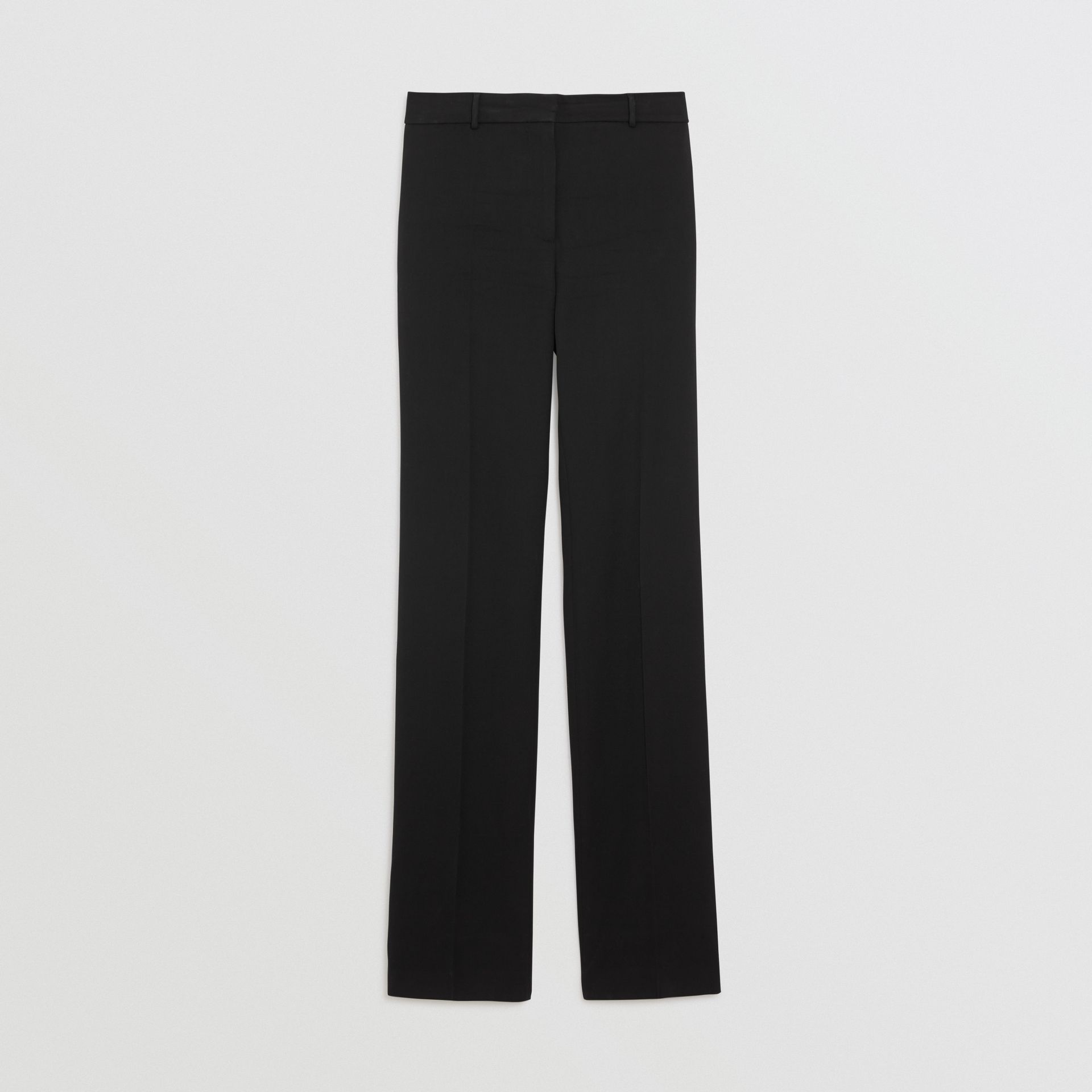 Straight Fit Stretch Wool Tailored Trousers in Black - Women | Burberry - gallery image 3