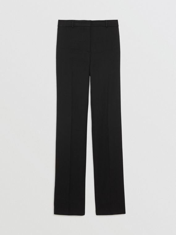 5169f3eb Straight Fit Stretch Wool Tailored Trousers in Black