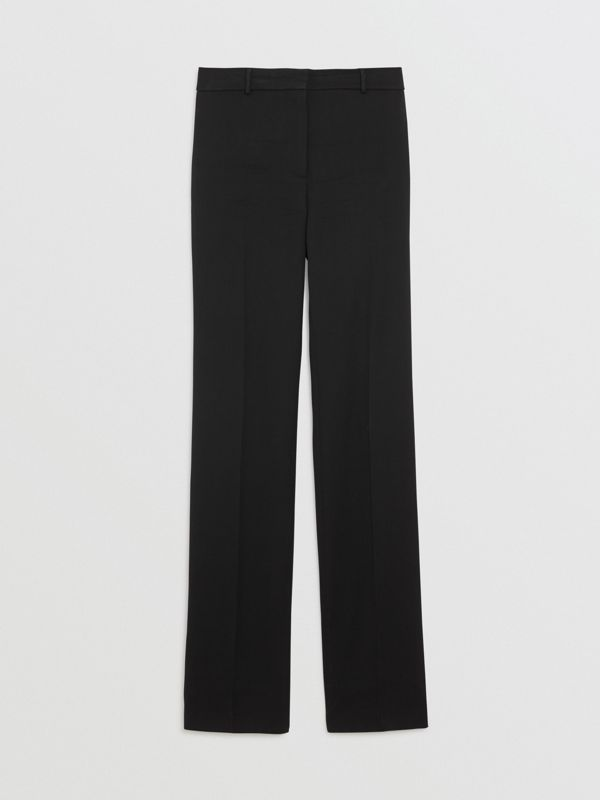 Straight Fit Stretch Wool Tailored Trousers in Black - Women | Burberry - cell image 3