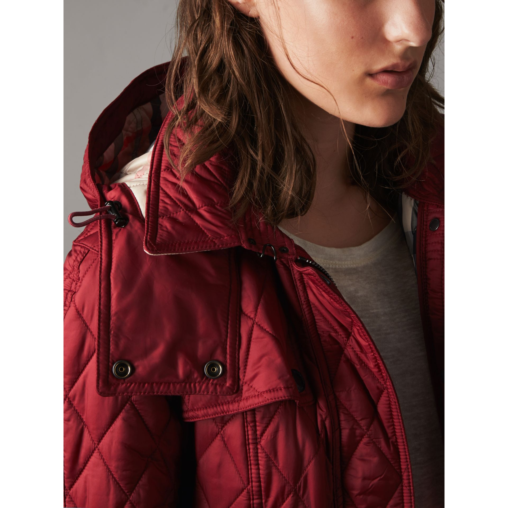 Quilted Trench Jacket with Detachable Hood in Dark Crimson - gallery image 2
