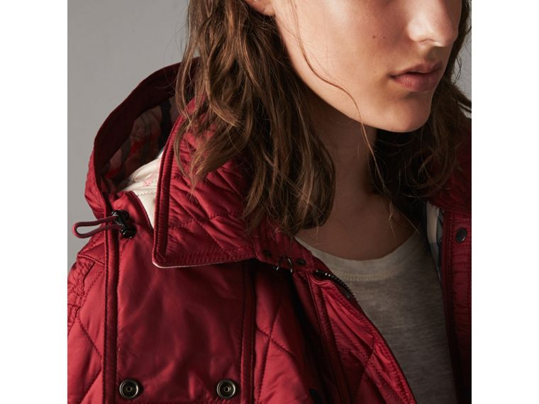 Quilted Trench Jacket with Detachable Hood in Dark Crimson - cell image 1