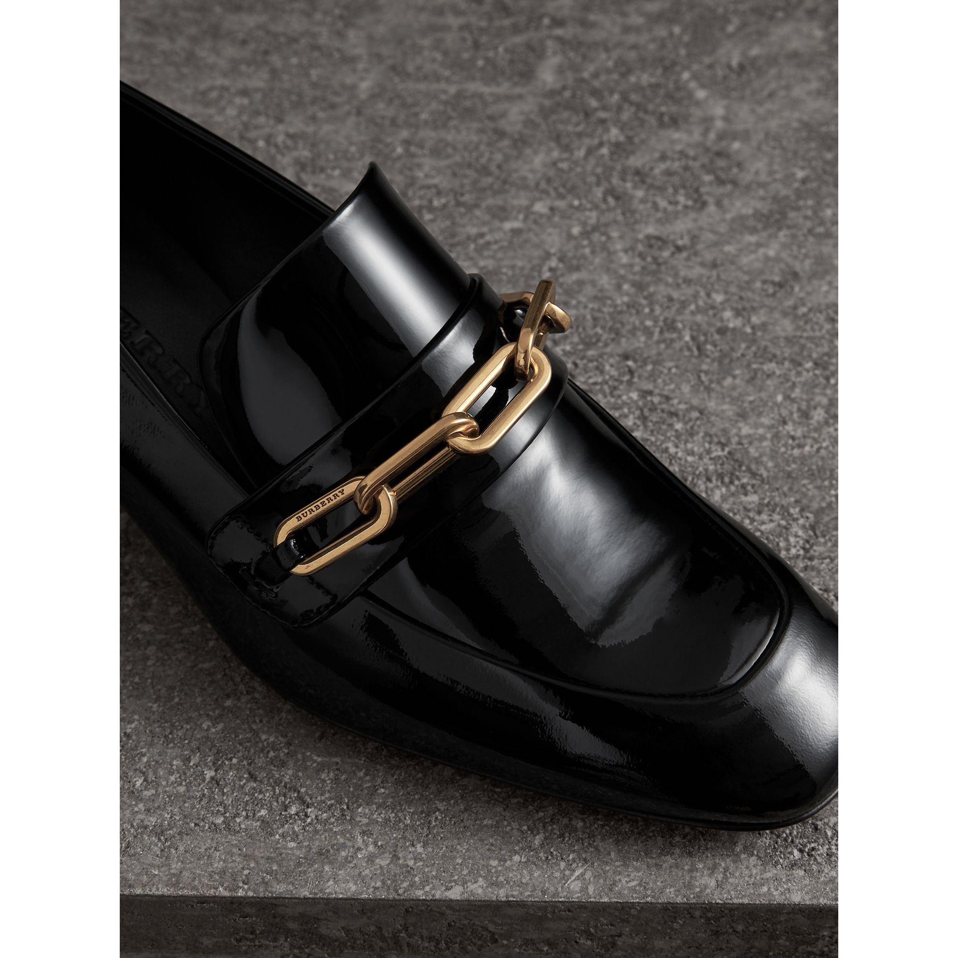 Link Detail Patent Leather Block-heel Loafers in Black - Women | Burberry United States - gallery image 1