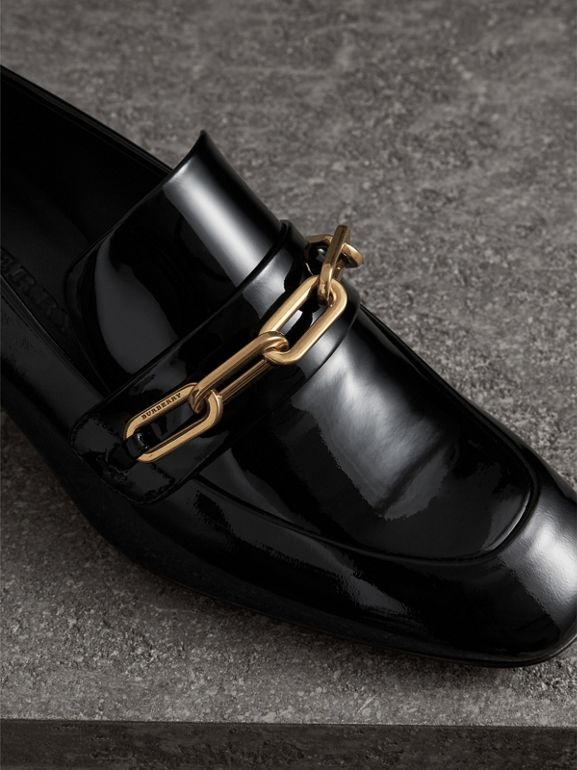Link Detail Patent Leather Block-heel Loafers in Black - Women | Burberry United States - cell image 1