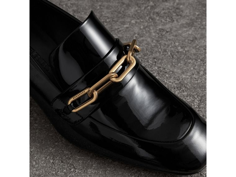 Link Detail Patent Leather Block-heel Loafers in Black - Women | Burberry - cell image 1