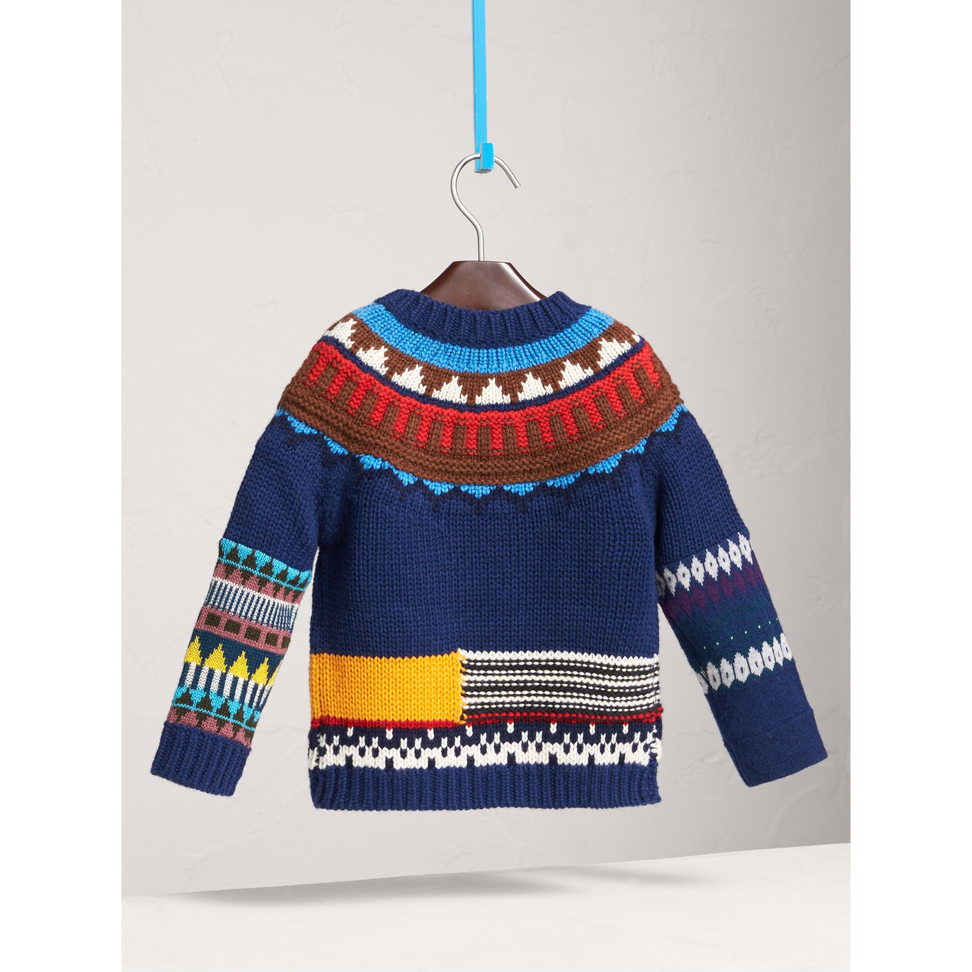 Pom-pom Fair Isle Wool Cashmere Sweater in Navy/red | Burberry - gallery image 3