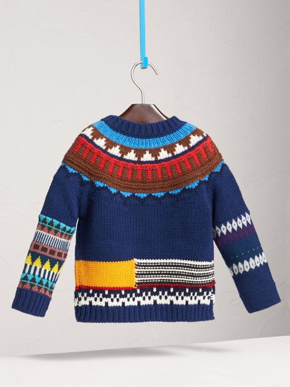 Pom-pom Fair Isle Wool Cashmere Sweater in Navy/red - Girl | Burberry Singapore - cell image 3