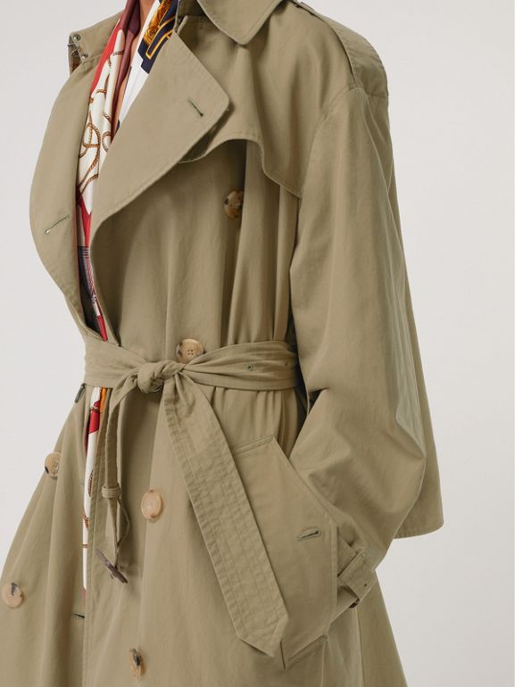 Relaxed Fit Tropical Gabardine Trench Coat in Vintage Green - Women | Burberry United States - cell image 1