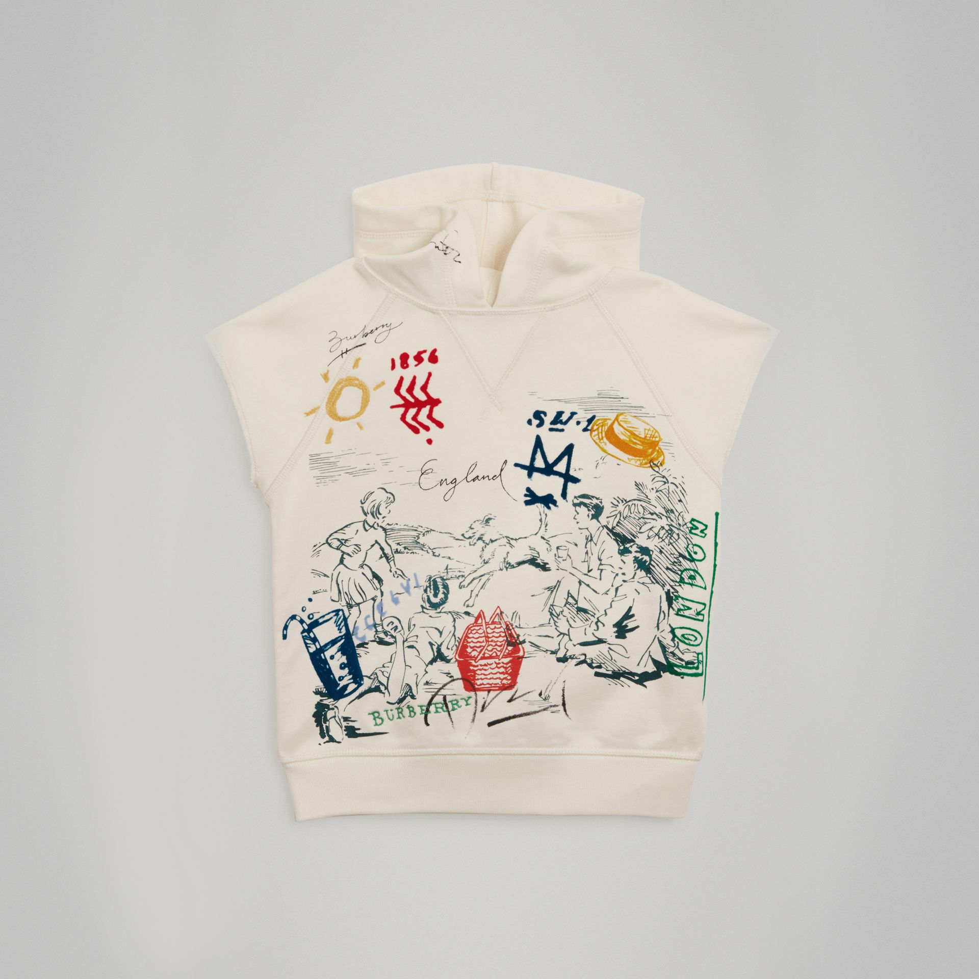 Adventure Print Cotton Sleeveless Hoodie in Chalk White - Boy | Burberry - gallery image 0