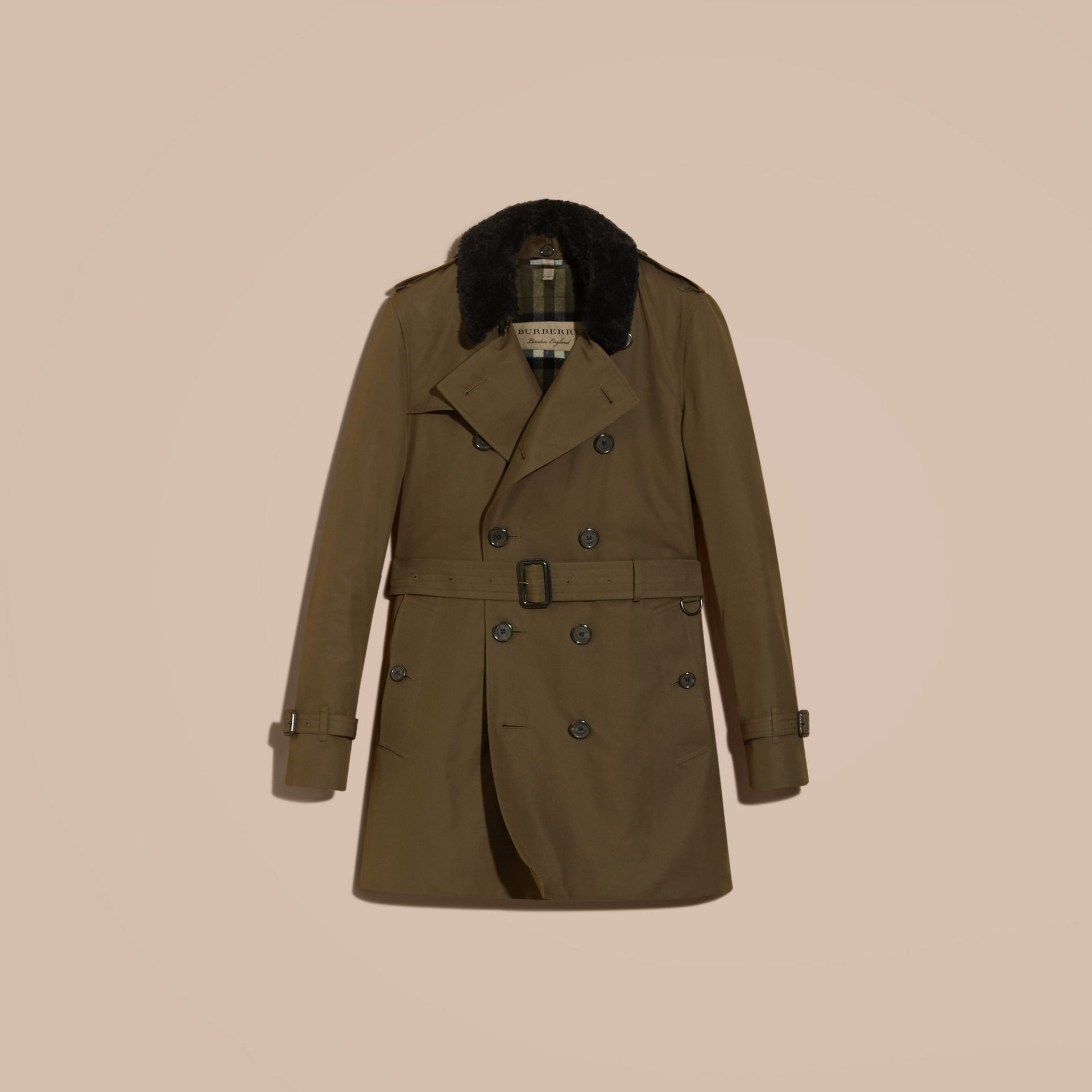 Detachable Shearling Topcollar Cotton Gabardine Trench Coat with Warmer in Olive Green - gallery image 4