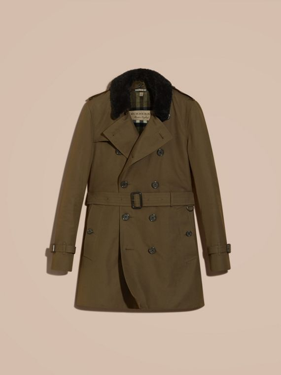 Detachable Shearling Topcollar Cotton Gabardine Trench Coat with Warmer in Olive Green - cell image 3