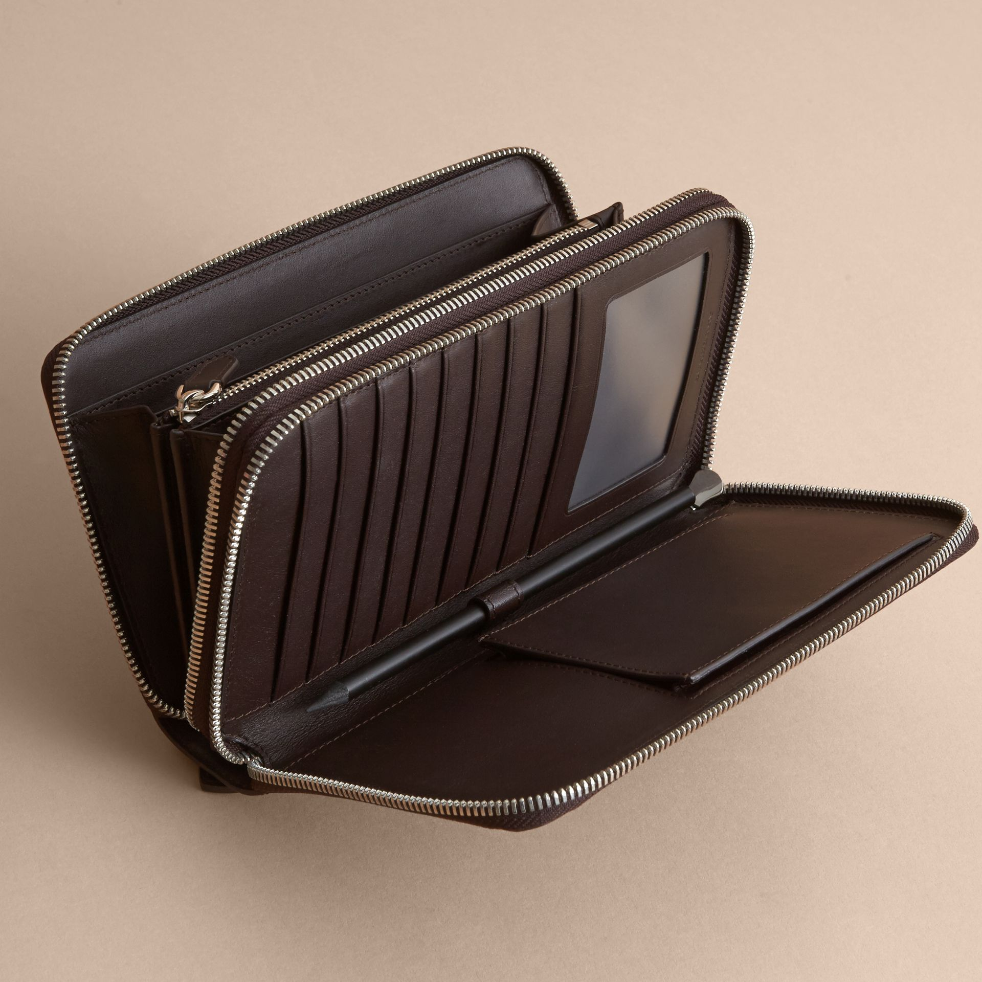 London Check Travel Wallet in Deep Claret - Men | Burberry - gallery image 4