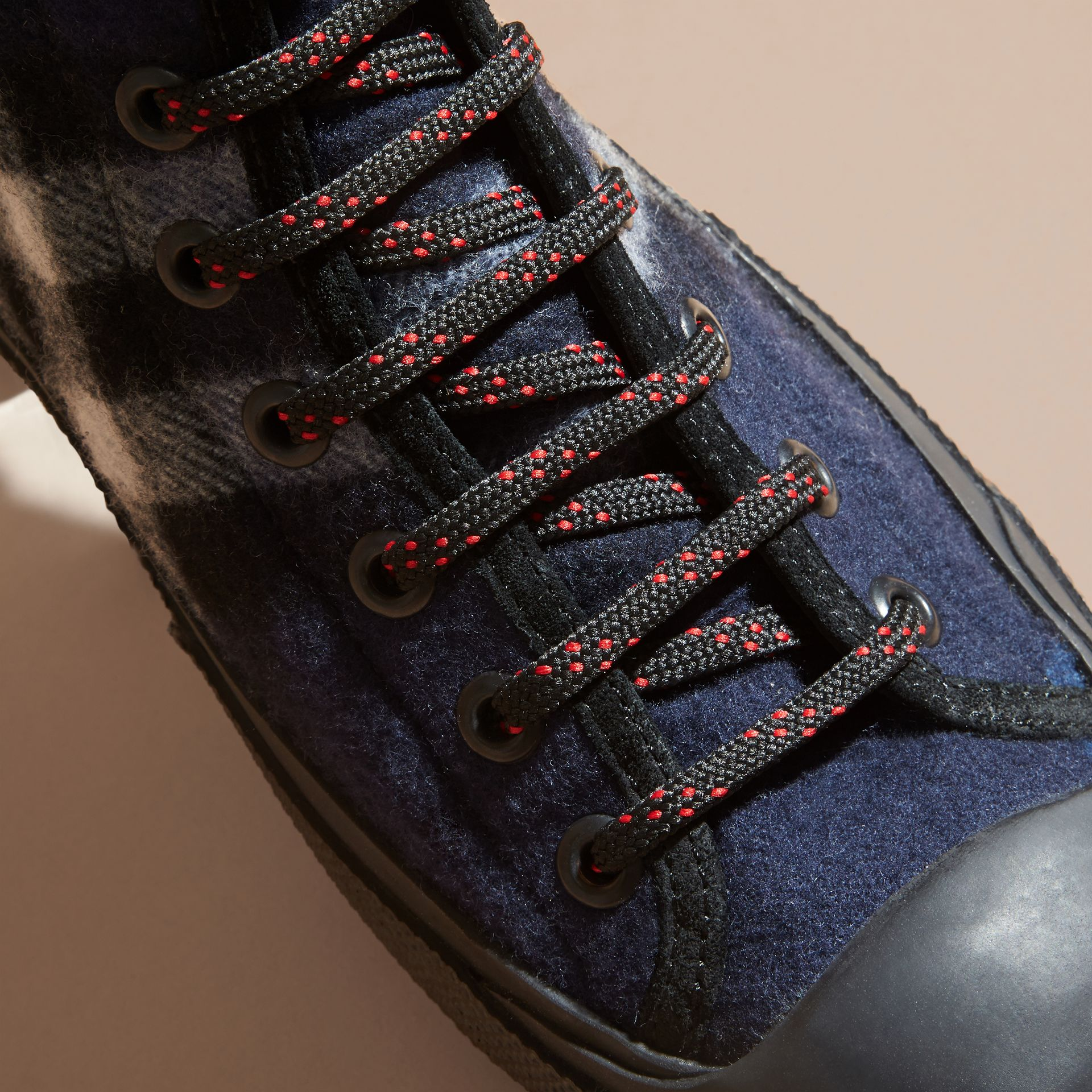 Dark indigo Check Technical Wool and Vulcanised Rubber Boots Dark Indigo - gallery image 2