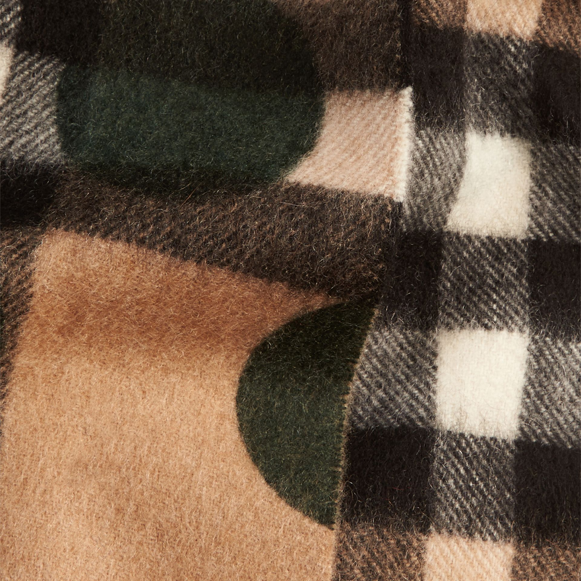 Dark forest green The Mini Classic Cashmere Scarf in Check and Dots - gallery image 4