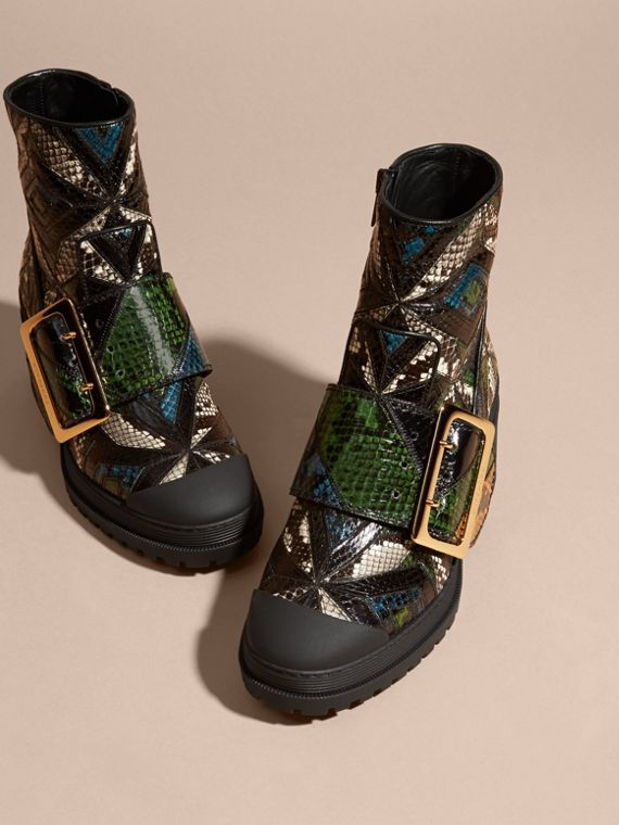 Black/mineral blue The Buckle Boot in Snakeskin - cell image 2