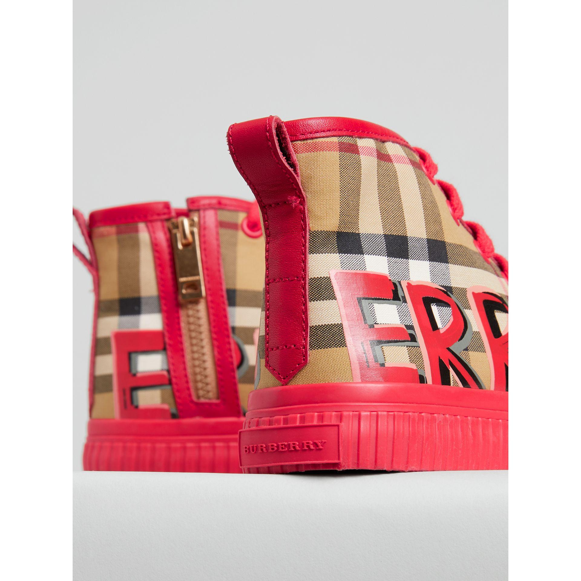 Graffiti Vintage Check High-top Sneakers in Bright Red | Burberry Australia - gallery image 1