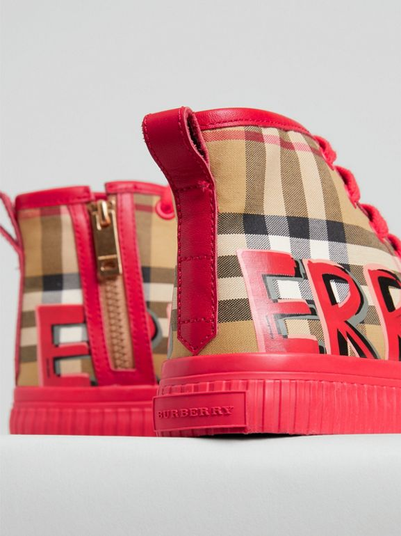 Graffiti Vintage Check High-top Sneakers in Bright Red | Burberry - cell image 1