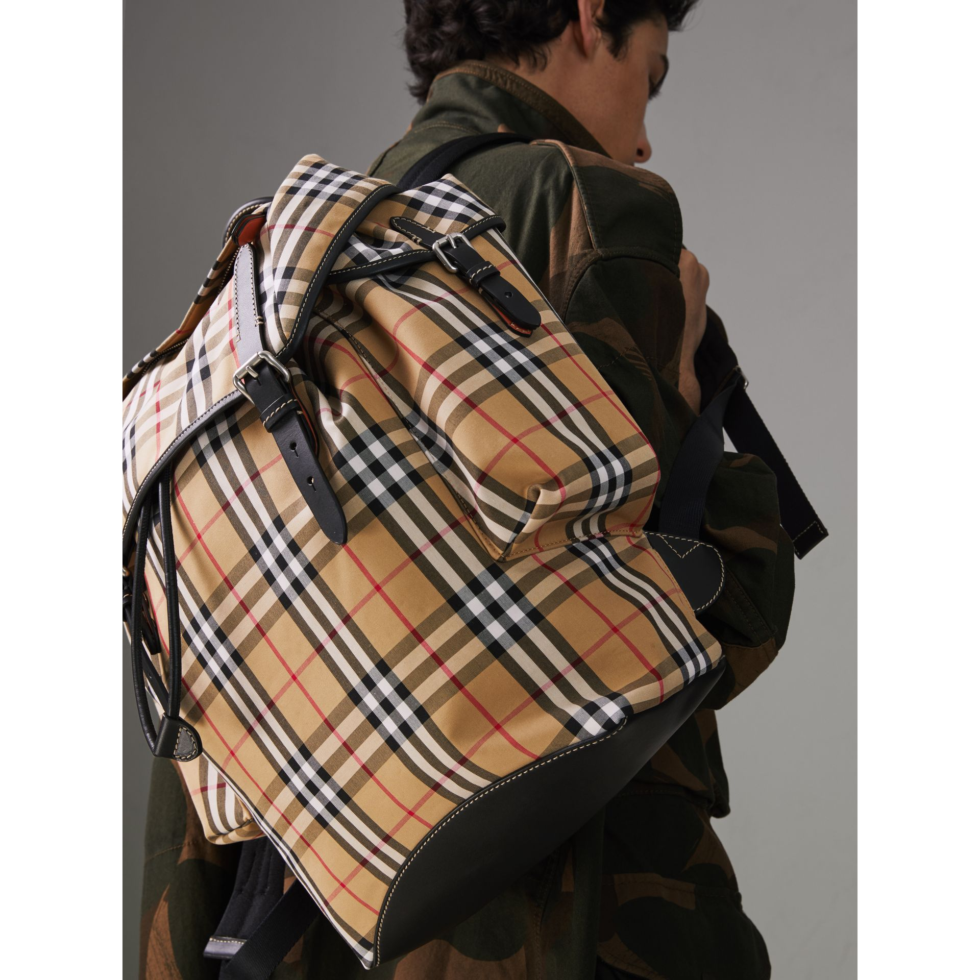 Vintage Check and Leather Backpack in Clementine - Men | Burberry United States - gallery image 3
