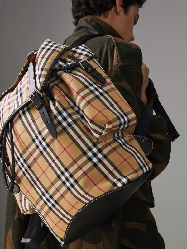 Vintage Check and Leather Backpack in Clementine - Men | Burberry - cell image 3