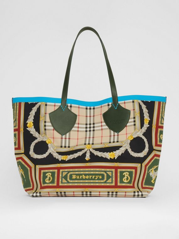 The Giant Reversible Tote in Archive Scarf Print Cotton in Dark Forest Green/burgundy