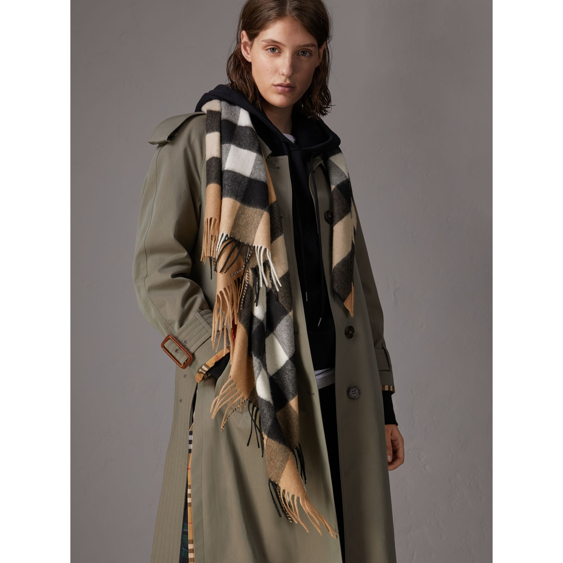 The Burberry Bandana in Check Cashmere in Camel | Burberry Canada - gallery image 5