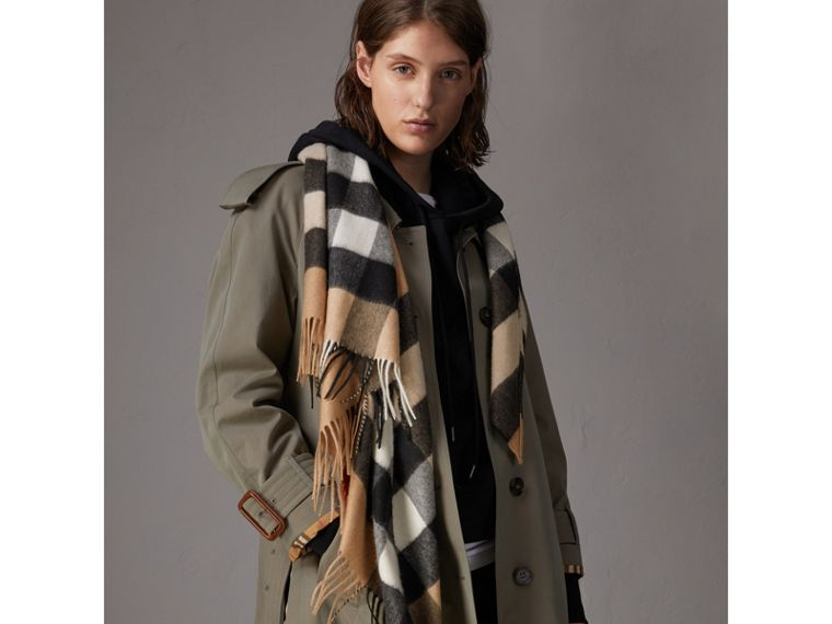 The Burberry Bandana in Check Cashmere in Camel | Burberry Canada - cell image 4
