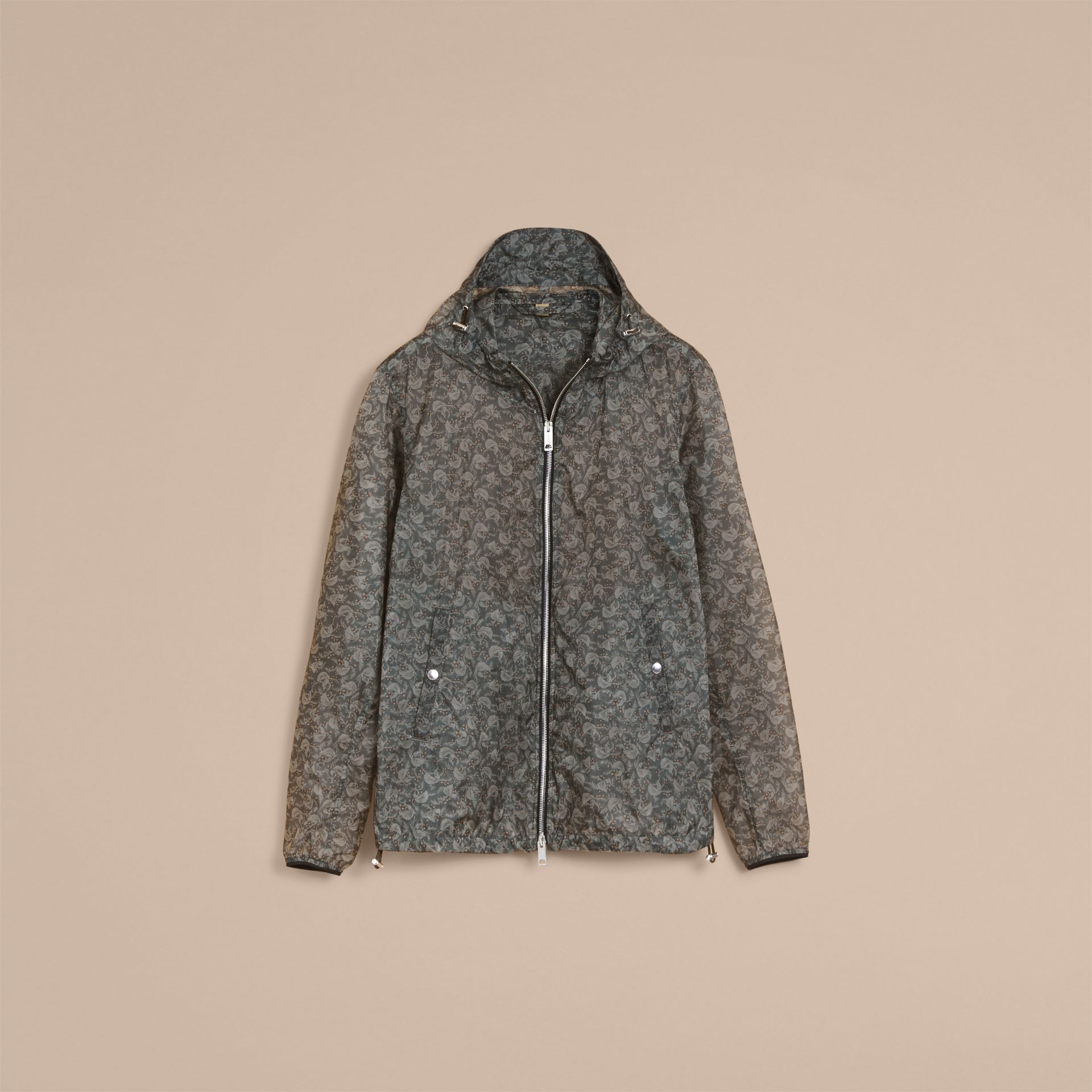 Leaf Pattern Hooded Ultra-lightweight Jacket - Men | Burberry - gallery image 4