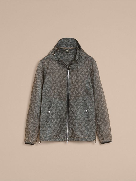 Leaf Pattern Hooded Ultra-lightweight Jacket - Men | Burberry - cell image 3