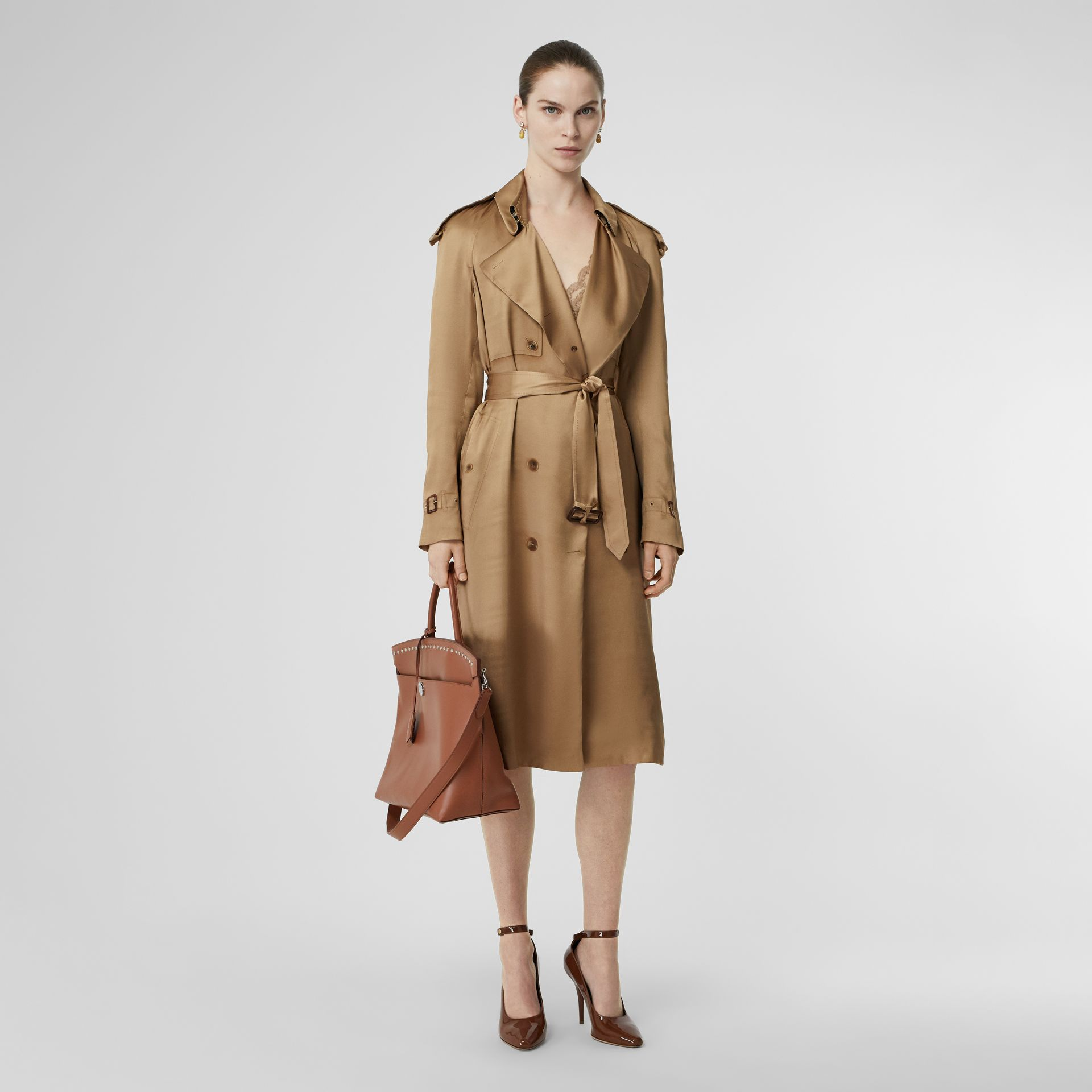 Silk Wrap Trench Coat in Honey - Women | Burberry Singapore - gallery image 0