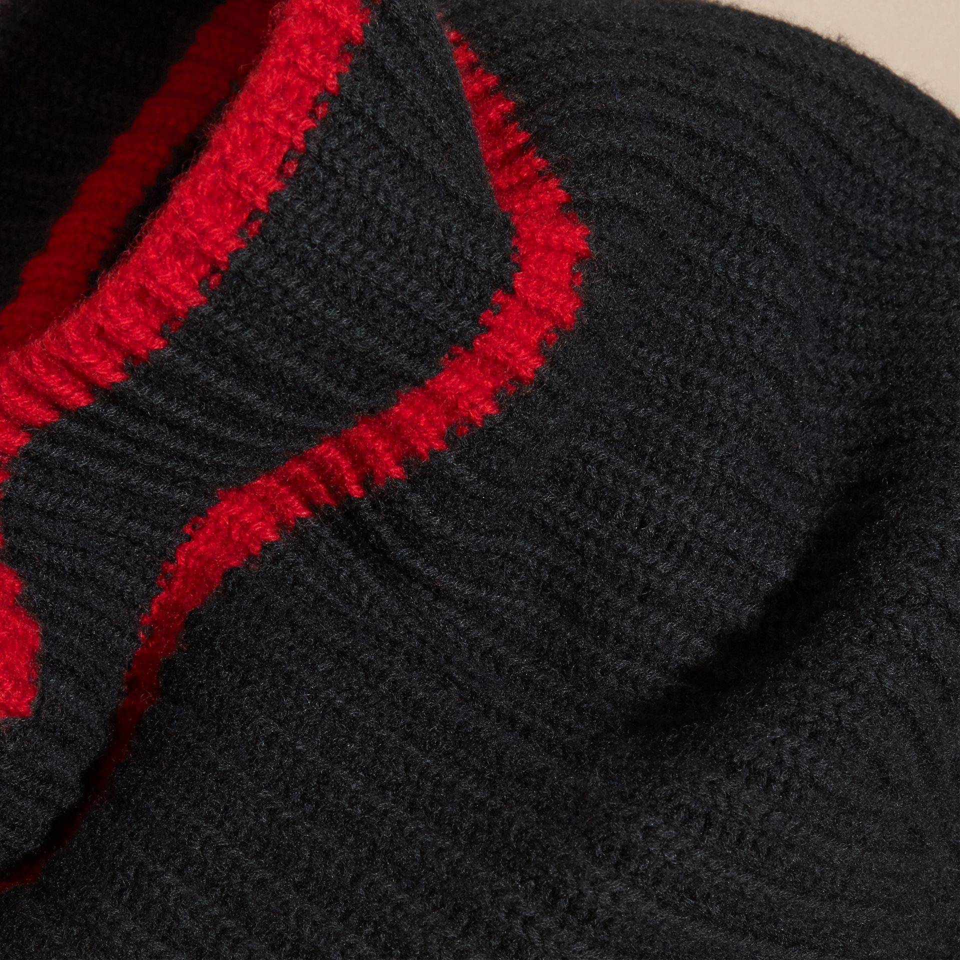 Black/parade red Ribbed Cashmere Tipped Beanie - gallery image 3
