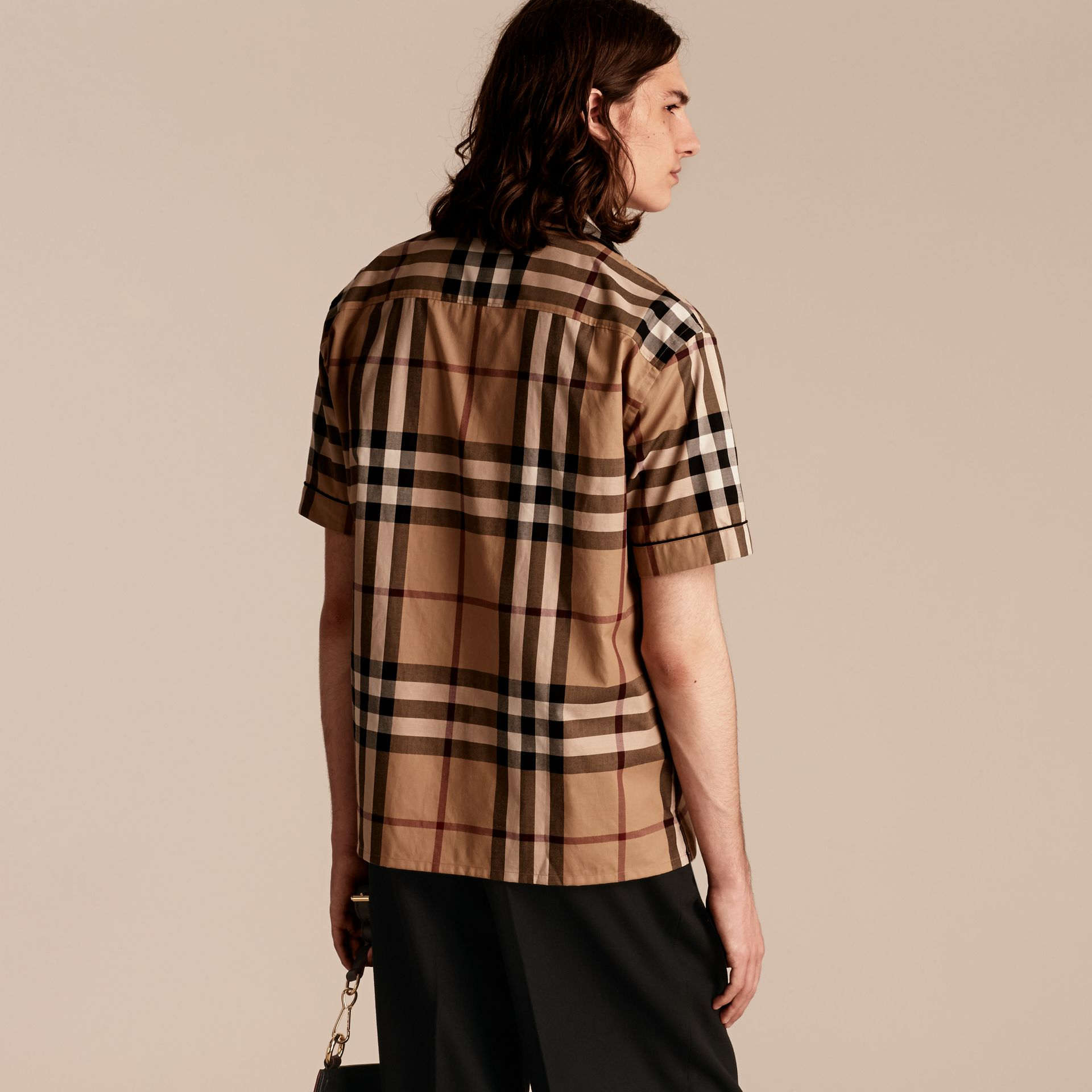Cotton Poplin Pyjama-style Shirt in Camel - gallery image 3