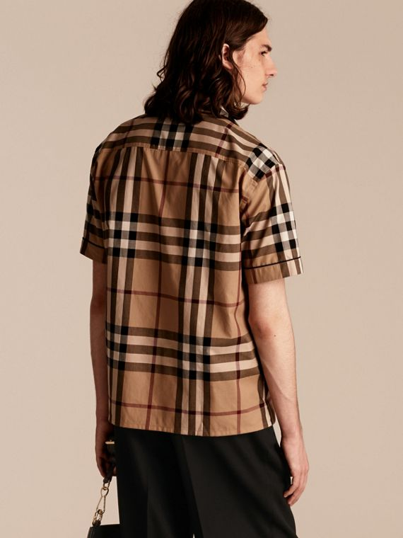 Camel Short-sleeved Check Cotton Pyjama-style Shirt Camel - cell image 2
