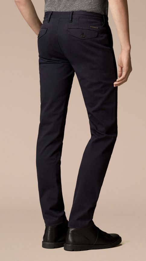Navy Slim Fit Stretch-Cotton Twill Chinos Navy - Image 2