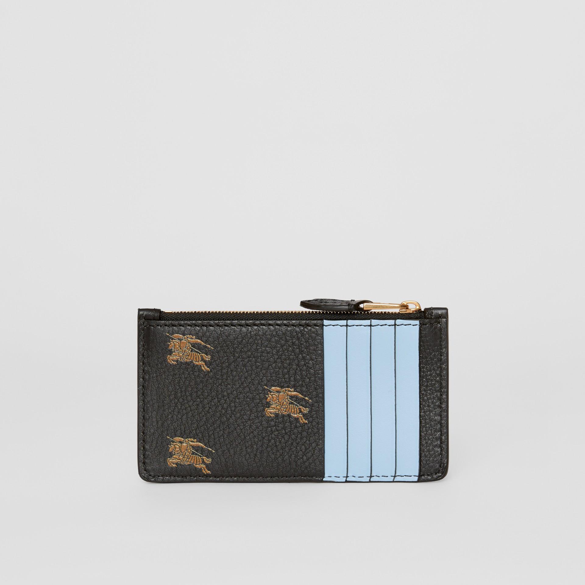 Porta carte di credito in pelle con cerniera e cavaliere equestre (Nero) - Donna | Burberry - immagine della galleria 4