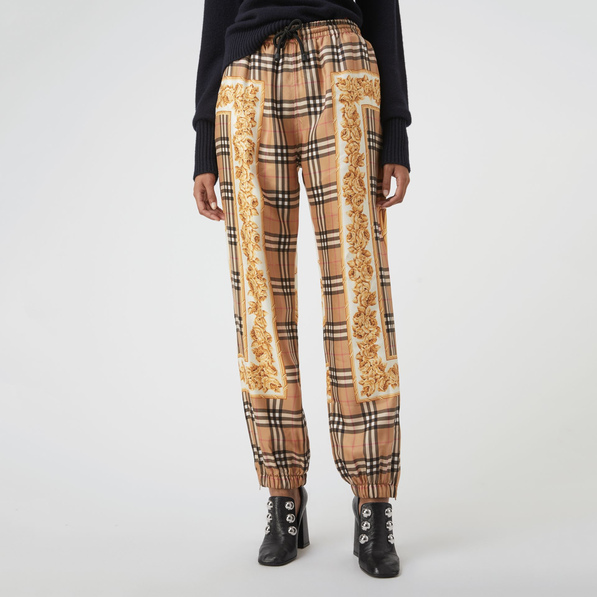 Scarf Border Vintage Check Silk Drawcord Trousers in Multicolour - Women | Burberry Hong Kong - gallery image 4