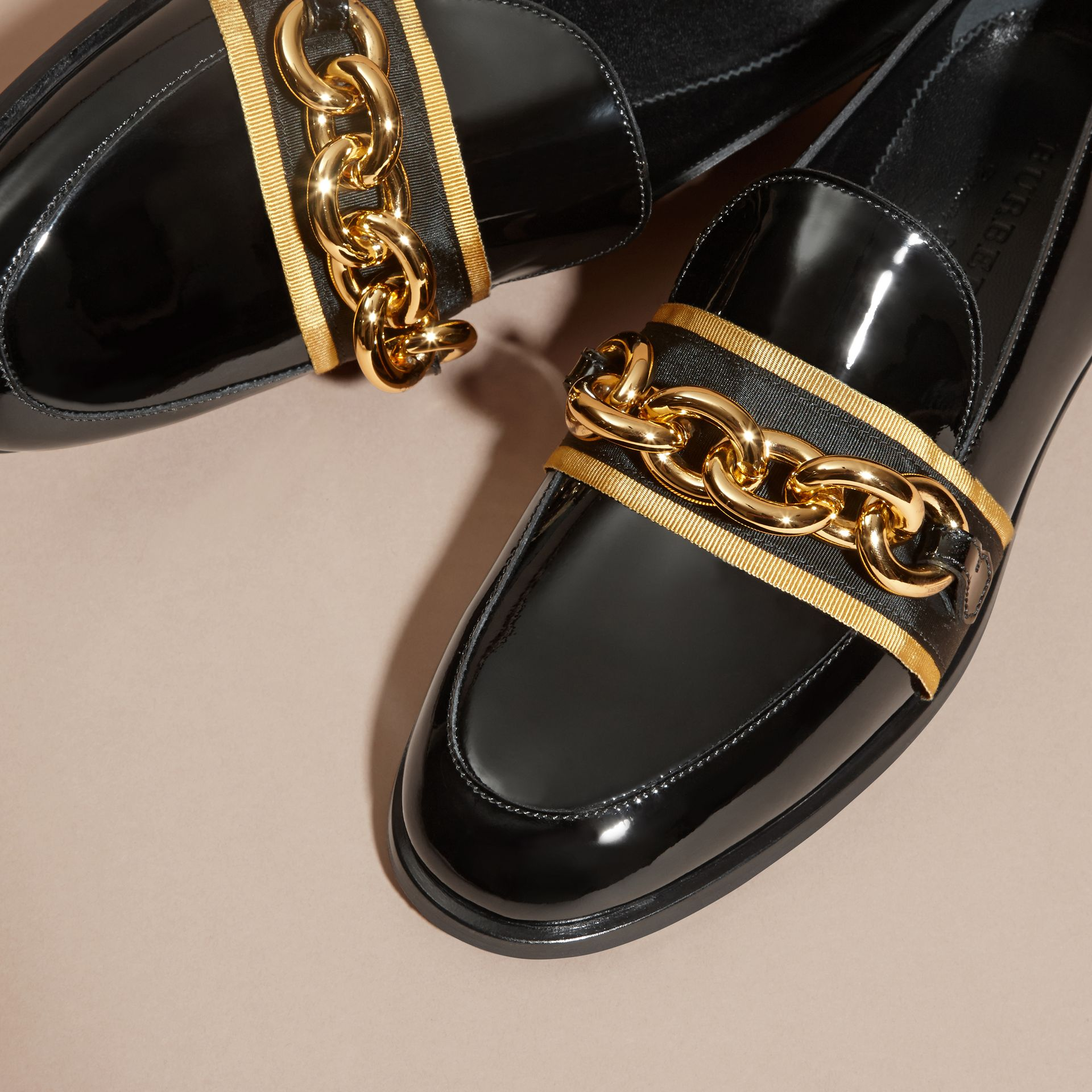 Black/gold Chain Detail Leather Loafers - gallery image 2