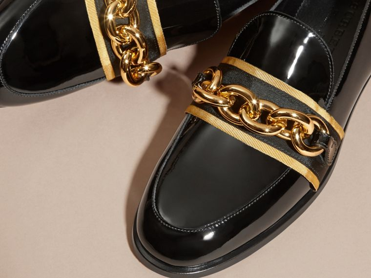 Black/gold Chain Detail Leather Loafers - cell image 1