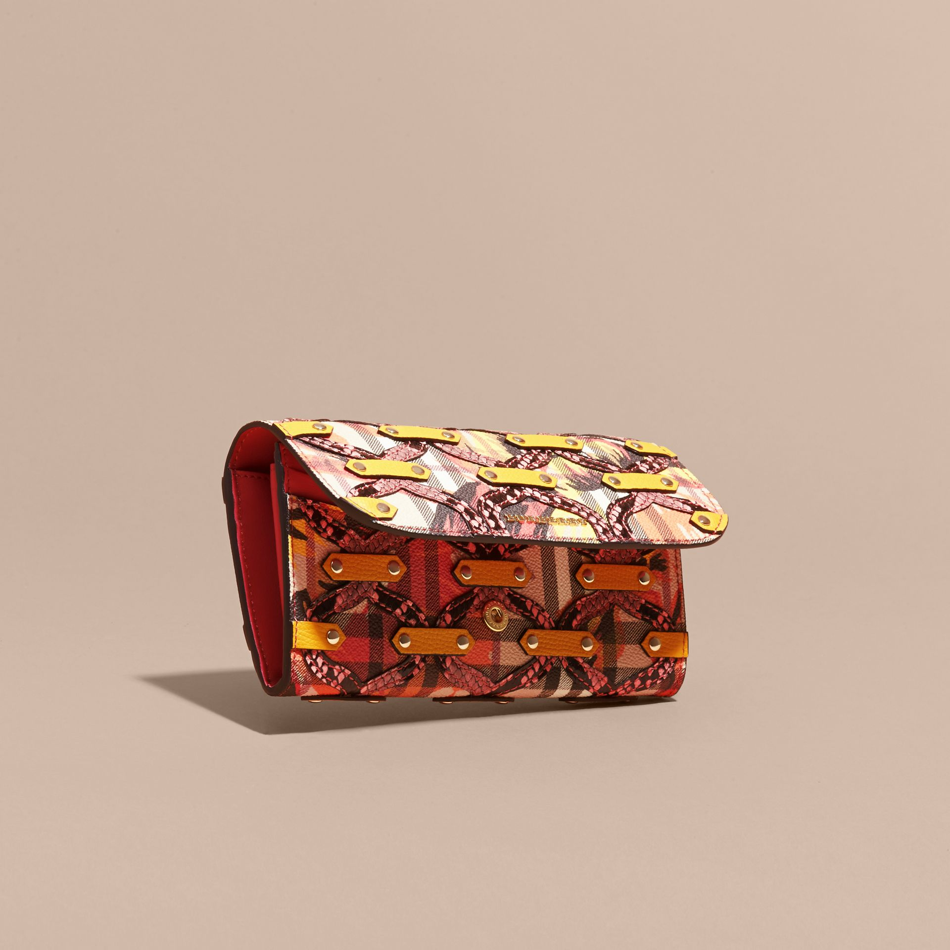 Snakeskin Appliqué Peony Rose Print Haymarket Check Continental Wallet in Larch Yellow - gallery image 3
