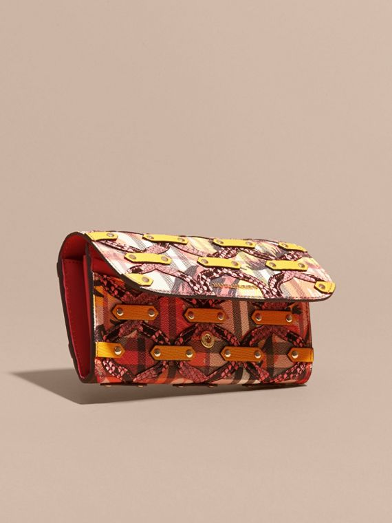 Snakeskin Appliqué Peony Rose Print Haymarket Check Continental Wallet in Larch Yellow - cell image 2