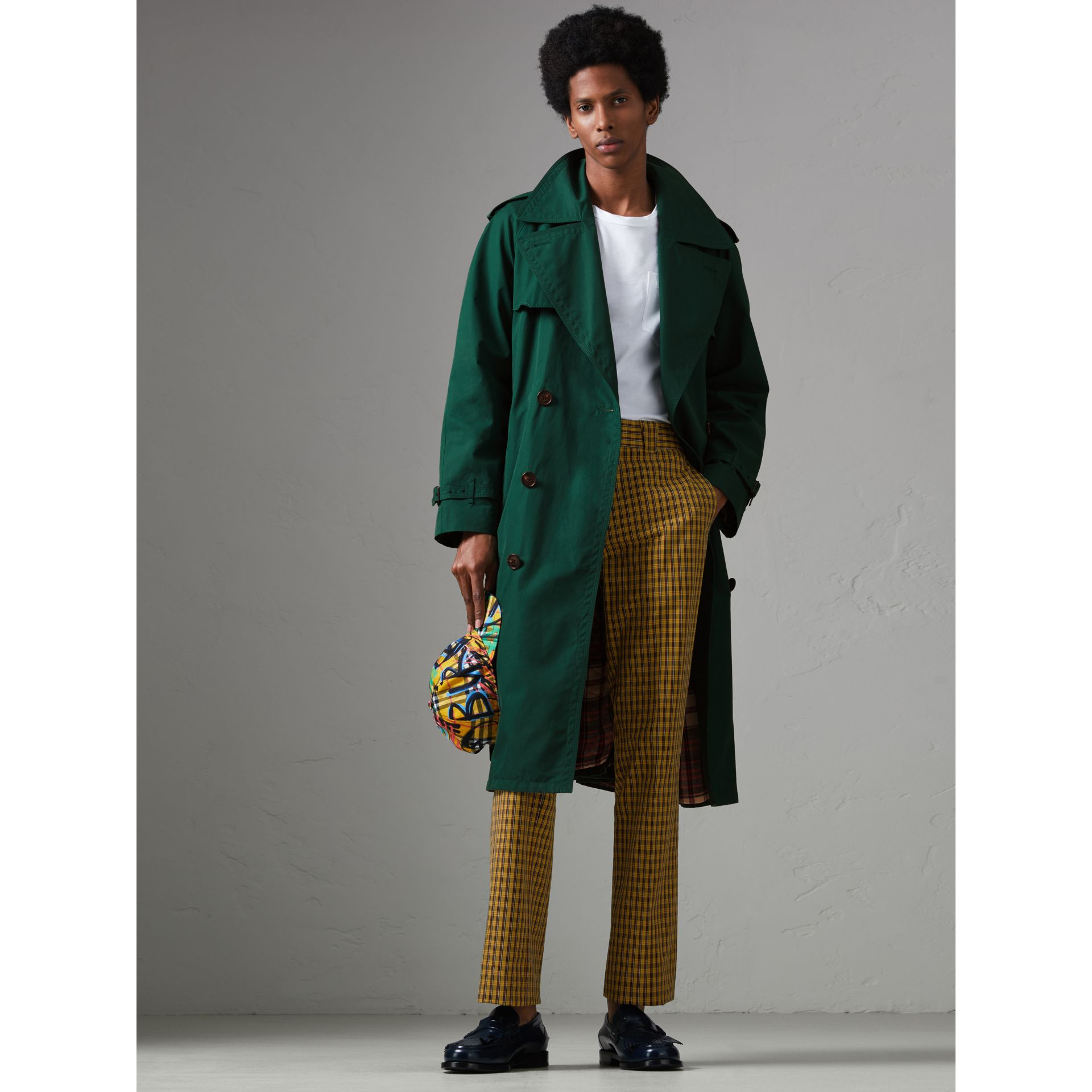 Gun-flap Detail Cotton Gabardine Trench Coat in Deep Veridian Green - Men | Burberry - gallery image 6