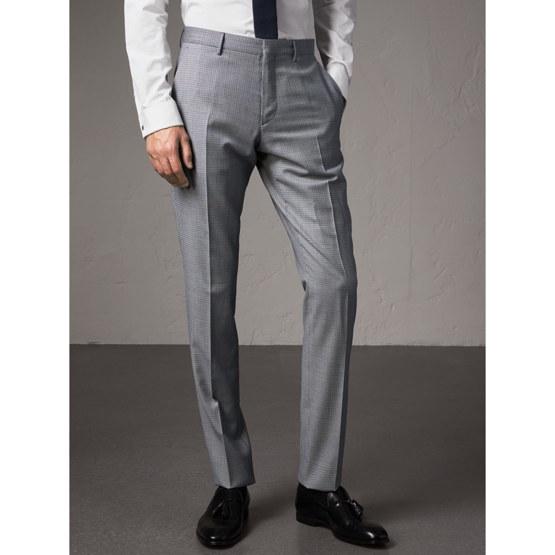 Slim Fit Houndstooth Wool Trousers in Light Blue - Men | Burberry United Kingdom - gallery image 5