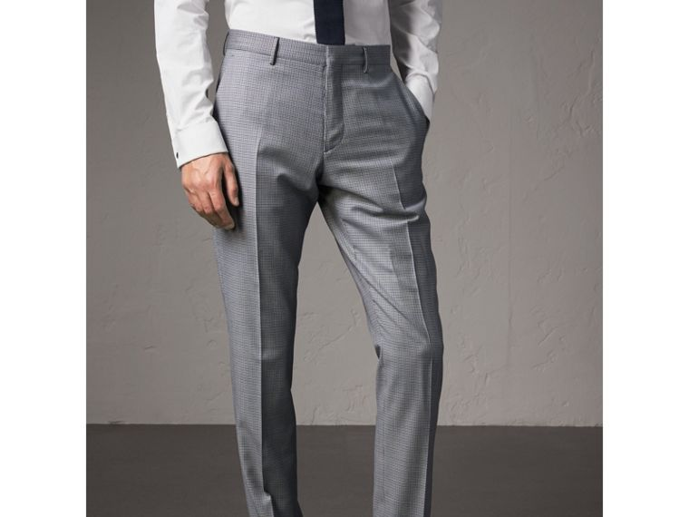 Slim Fit Houndstooth Wool Trousers in Light Blue - Men | Burberry - cell image 4