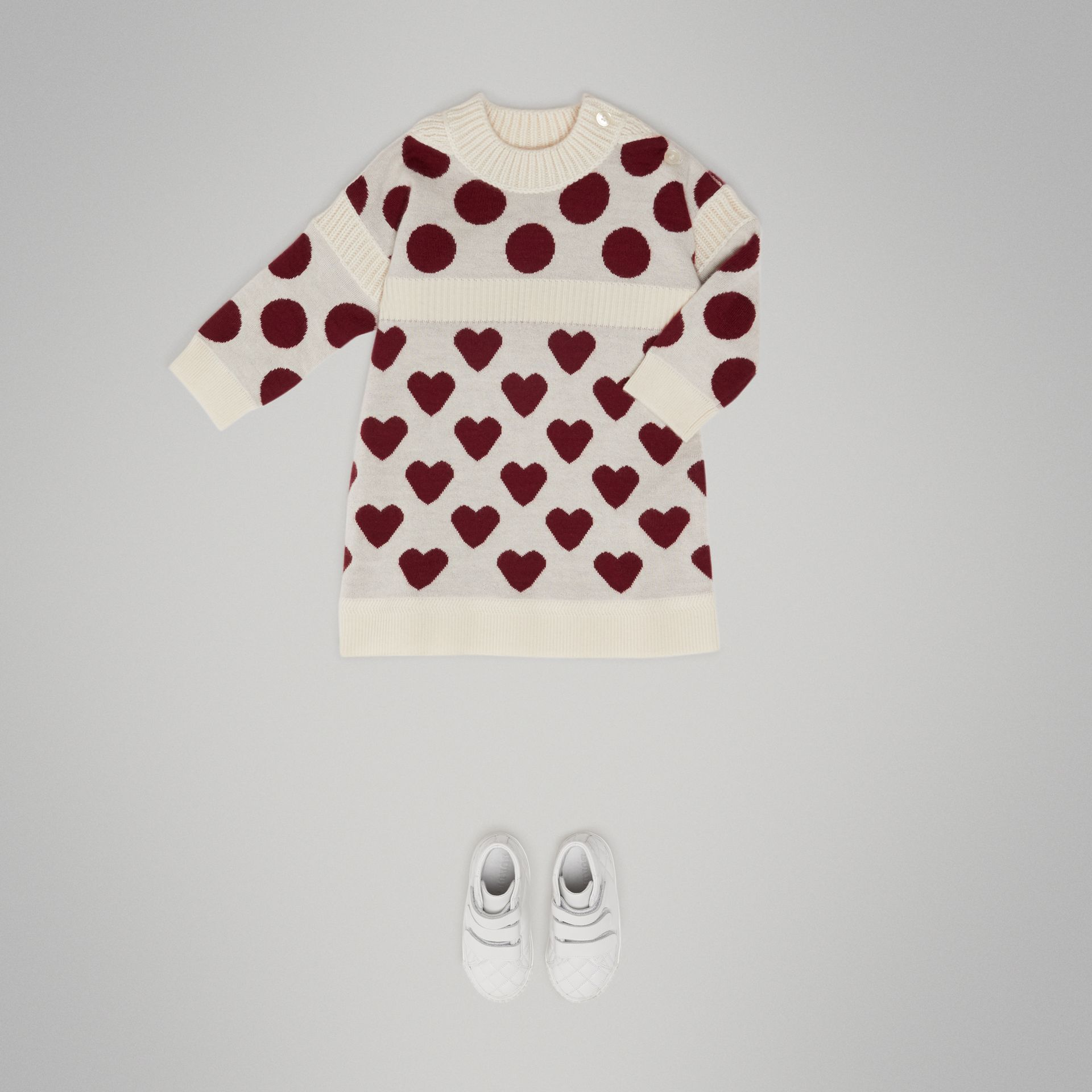 Heart and Spot Intarsia Cashmere Sweater Dress in Natural White - Children | Burberry - gallery image 2