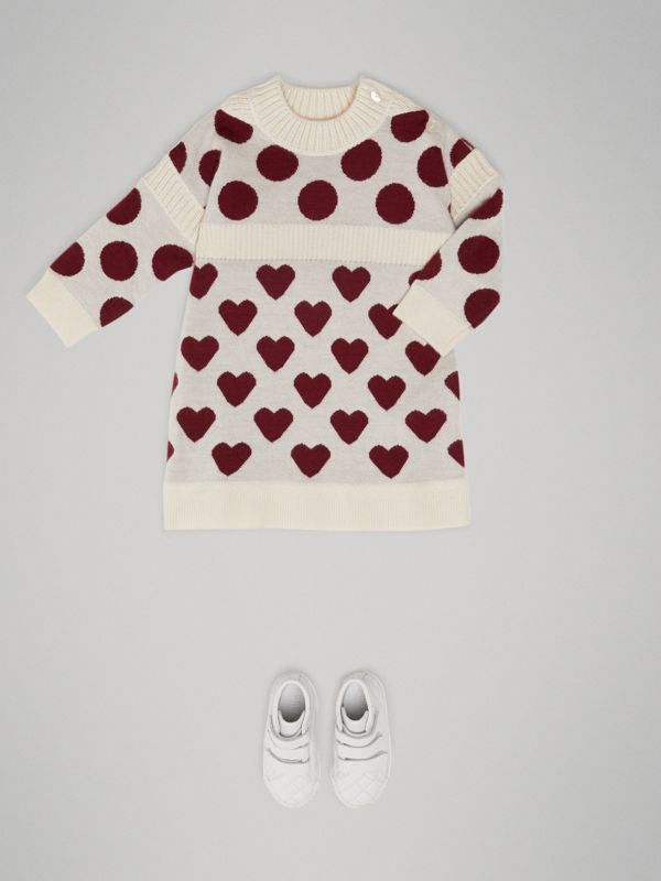 Heart and Spot Intarsia Cashmere Sweater Dress in Natural White - Children | Burberry - cell image 2