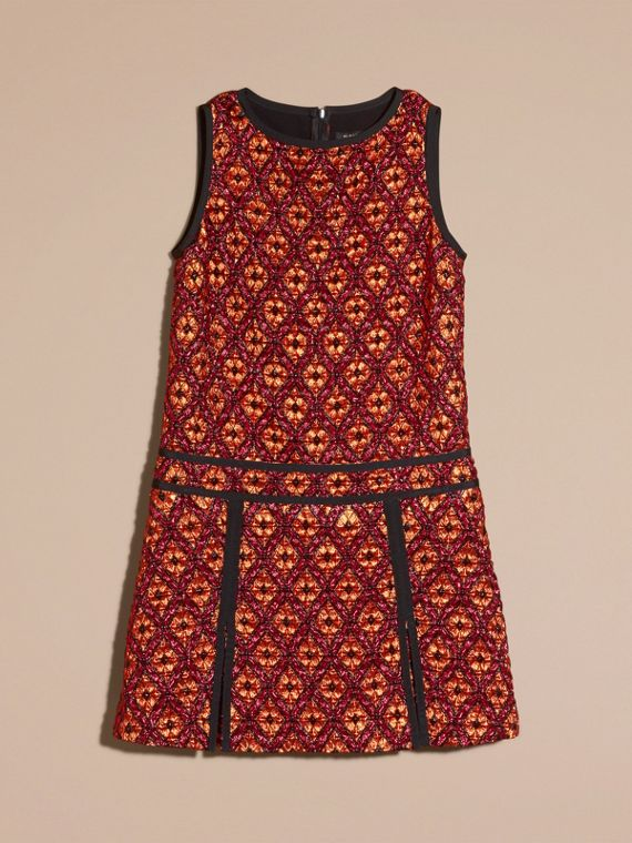 Cinnamon red Diamond Jacquard Sleeveless Dress - cell image 3