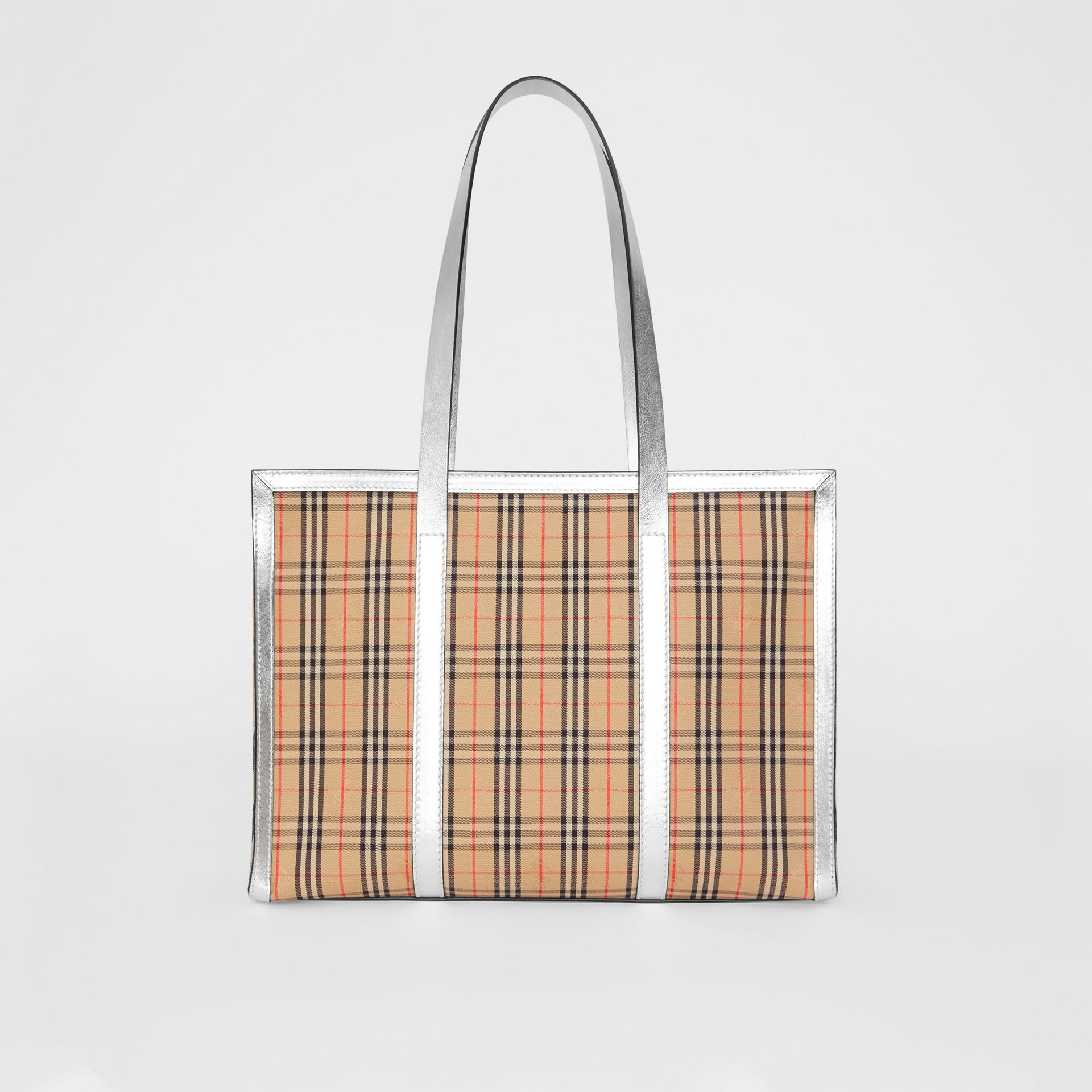 The 1983 Check Link Tote Bag in Silver - Women | Burberry United States - gallery image 7