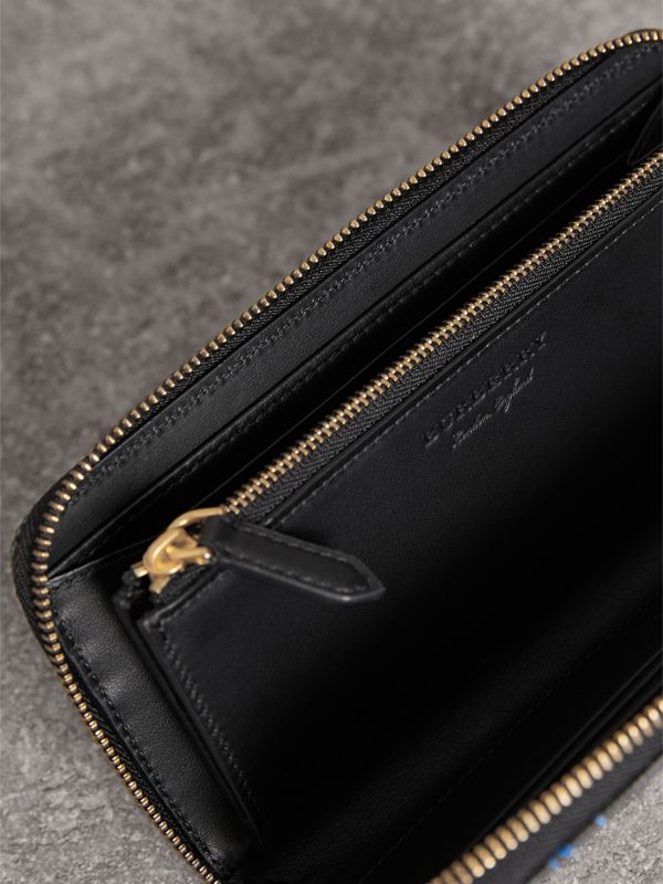 Doodle Print Coated Canvas Ziparound Wallet in Black | Burberry - cell image 3