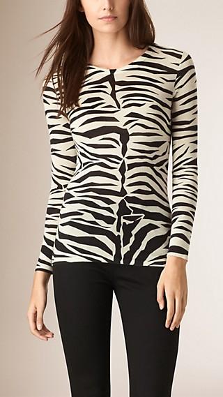 Zebra Print Cashmere Silk Sweater