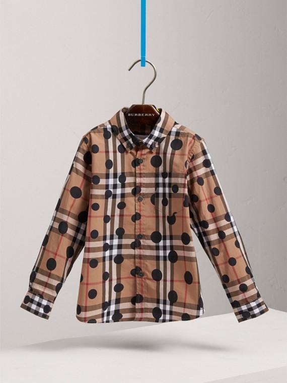 Polka-dot Check Cotton Shirt in Navy